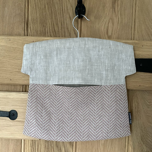 Chevron Linen Peg Bag - Dusty Pink
