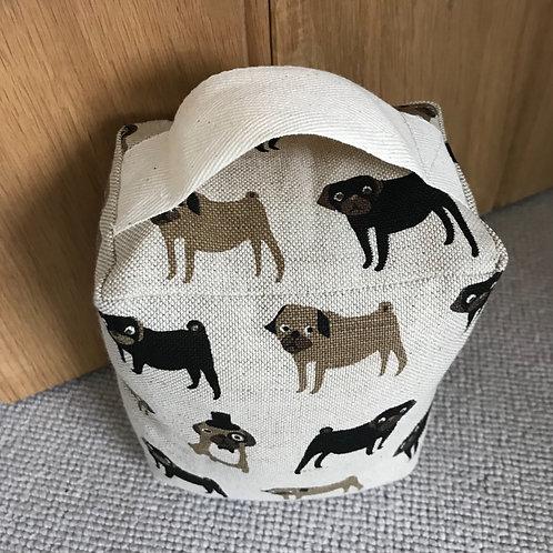 Fenella Smith Linen Doorstop - Pugs, top view
