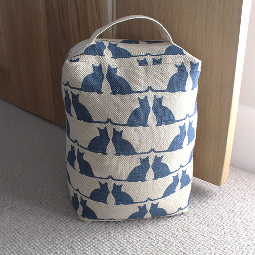 RawXclusive Linen Doorstop - Cats in Blue