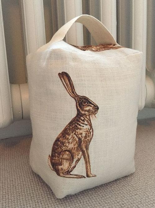 Peony & Sage Linen Doorstop - Mr. Hare in Fudge