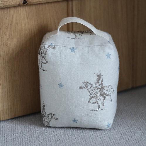 Peony & Sage Linen Doorstop - Mini Vintage Cowboys Mole / Oxford Blue front view