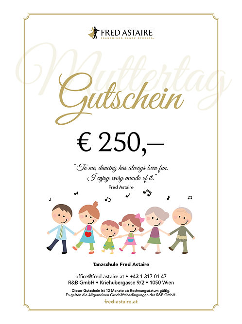 """ONLINE-GUTSCHEIN - """"MUTTERTAG"""" € 250,-"""