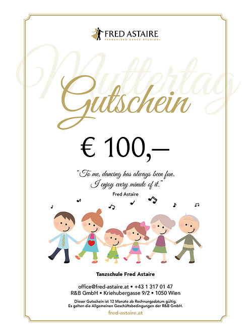 """ONLINE-GUTSCHEIN - """"MUTTERTAG"""" € 100,-"""