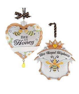 ORNAMENT BEES HEART/CRWN