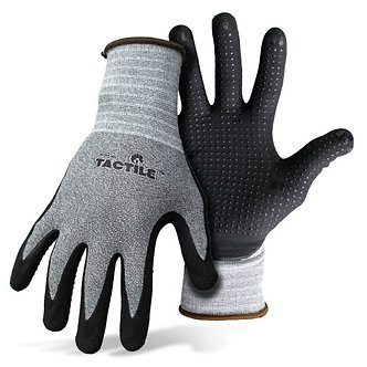 Boss Tactile Dotted Dipped Nitrile Palm Glove Black & Gray Extra Large