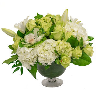 Green Roses green and white Cabbages white Hybrid Lilies large white Hydrangeas and mini green Hydrangeas