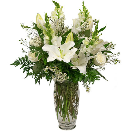 Snapdragons Lilies Roses and waxflower