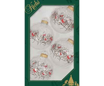 ORNAMENT CLEAR WITH CARDINALS
