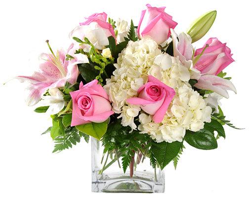White Hydrangea  Pink Roses Pink Lilies  White Freesia