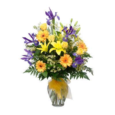 Yellow Bow Vase Arrangement