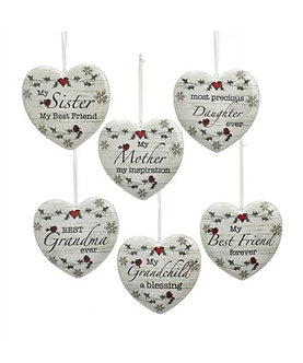 ORNAMENT HEART W/SENTIMENT