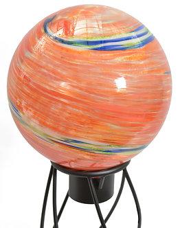Gazing Globe 'Orange Swirl Illuminarie' 10 Inch