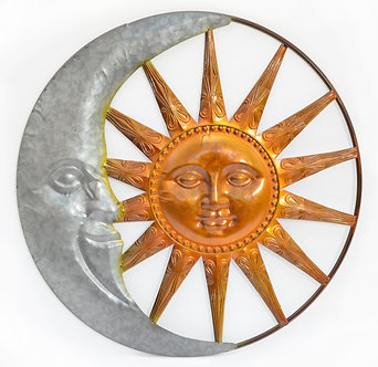 GALVANIZED SUN AND MOON WALL D�COR