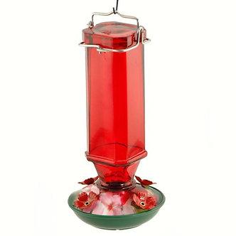 FEEDER RED GLASS HUMMINGBIRD
