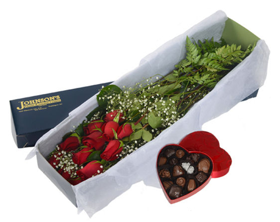 Box Roses with Chocolates