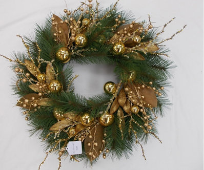 WREATH 24 GOLD W MIXED PINE