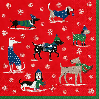 NAPKINS LUNCH WINTER DOG PACK