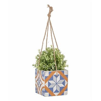 Blue Geometric Tile Hanging Flower Pot