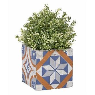 Blue Geometric Tile Flower Pot