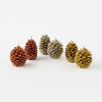 CANDLE GLITTERED PINECONE