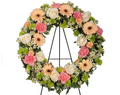 Peach Wreath w/easel