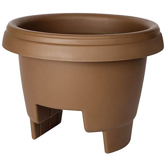 Deck Rail Planter  Plastic  Chocolate  12-in. - Quantity