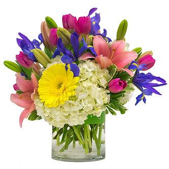 Pink Asiatic Lilies blue Irises purple Van Dyke Tulips white Hydrangeas and yellow Gerber Daisies
