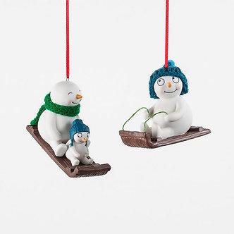 ORNAMENT SNOWMAN SLEDDING