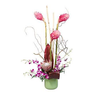 Ginger & Orchids in Green Vase