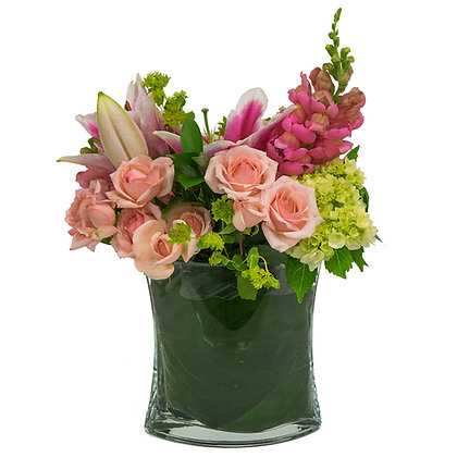 Pink Floribunda Roses pink Hybrid Lily white and green Cabbage mini green Hydrangea and light pink Snapdragons