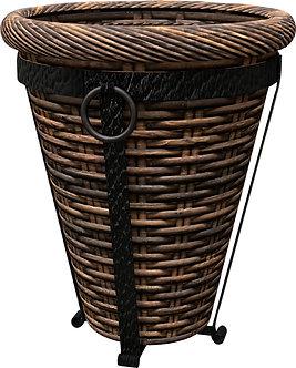 Panacea Tuscan Wicker Hearth & Patio Basket W/stand- Espresso Brown 16 Inch