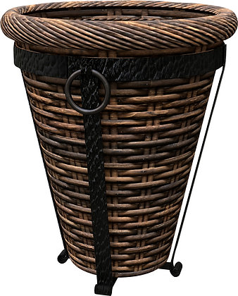 Panacea Tuscan Wicker Hearth & Patio Basket W/stand- Espresso Brown 16 Inch
