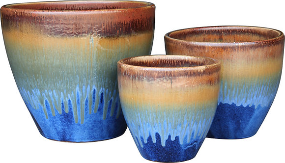 Large New Egg Planter - Brown Blue Fade