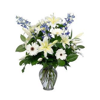 blue & white highlighting delphinium & lilies flowers