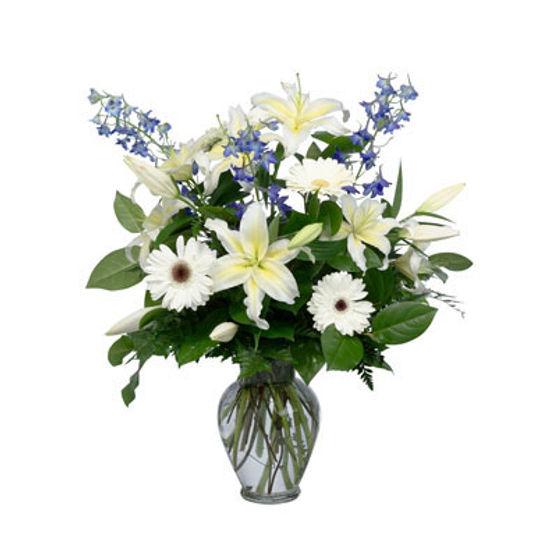 White Lily & Blue Delphinium