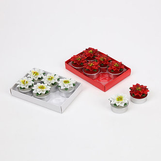 TEALIGHT POINSETTIA RED/WH SET/6