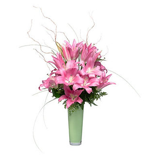 Pink Lilies in Green Vase