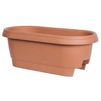 "Fiskars Pottery 477121-1001 Deck Rail Planter  12""  Clay"