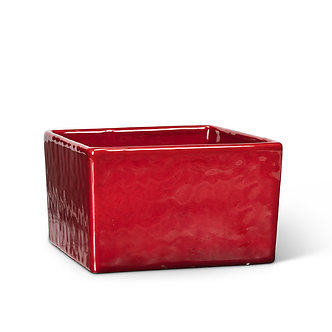 PLANTER LOW SQUARE RED 5.5