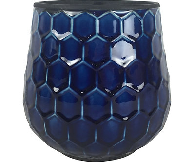 POT 8in HONEYCOMB COBALT BLUE