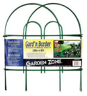 "Garden Zone Border Round Top Folding Fence  Green  18"" X 8\'"