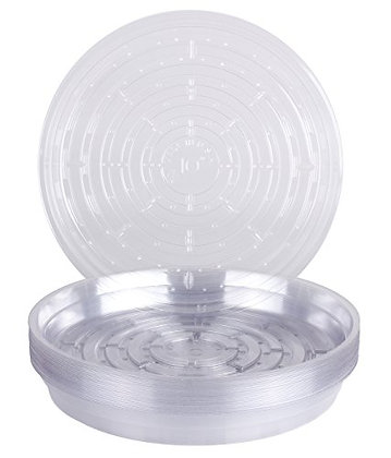 """Curtis Wagner Round Clear Vinyl 10"""" Plant Saucer - 25 Pack"""