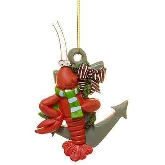 ORNAMENT LOBSTER ON ANCHOR