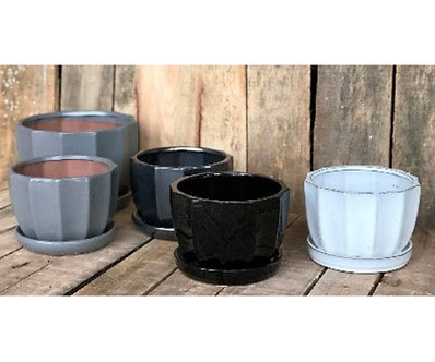 CLAMSHELL PLANTER 8in BLACK