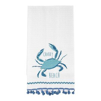 TEA TOWEL CRABBY BEACH