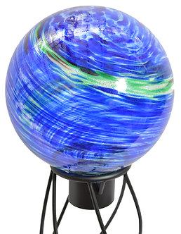 Gazing Globe 'Blue Swirl Illuminarie' 10 Inch