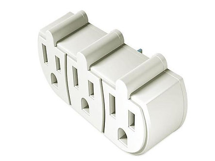 ADAPTER WALL 3 OUTLET WH