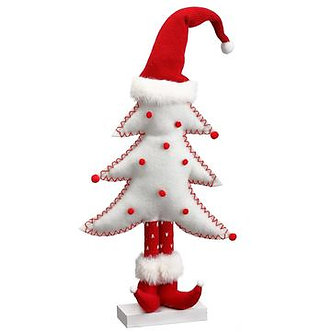 13POMPON CHRISTMAS TREE WH/RE