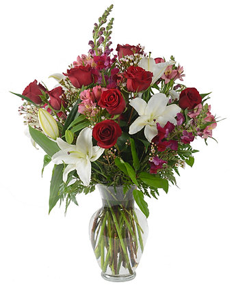 red Roses white Hybrid Lilies Snapdragons and pink Alstroemeria