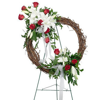 Rose & Lily Wreath w/easel